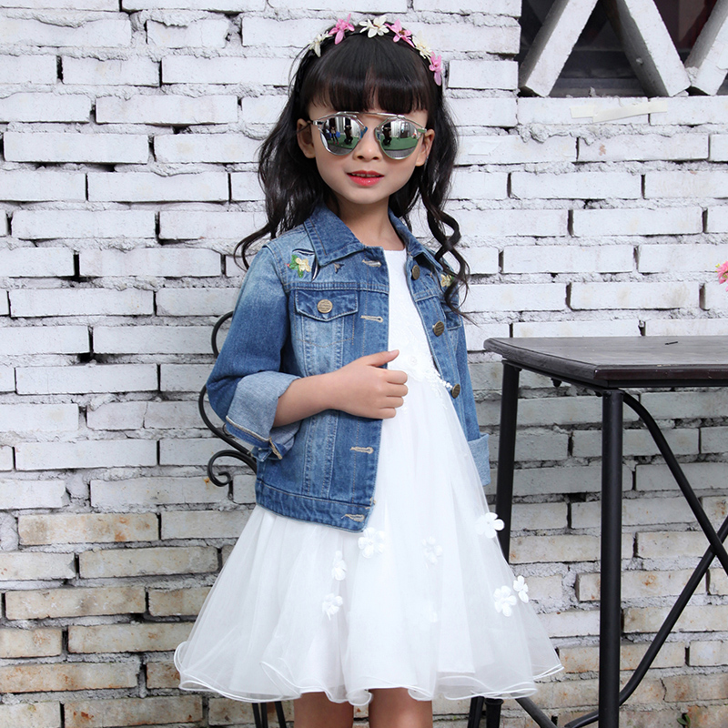 4-13t Jeans Jacket For Girl Brand Denim Jackets Spring Outwear Kids Clothes Embroidery Baby Girl Top Outfits Teenage Wear Girls<br>
