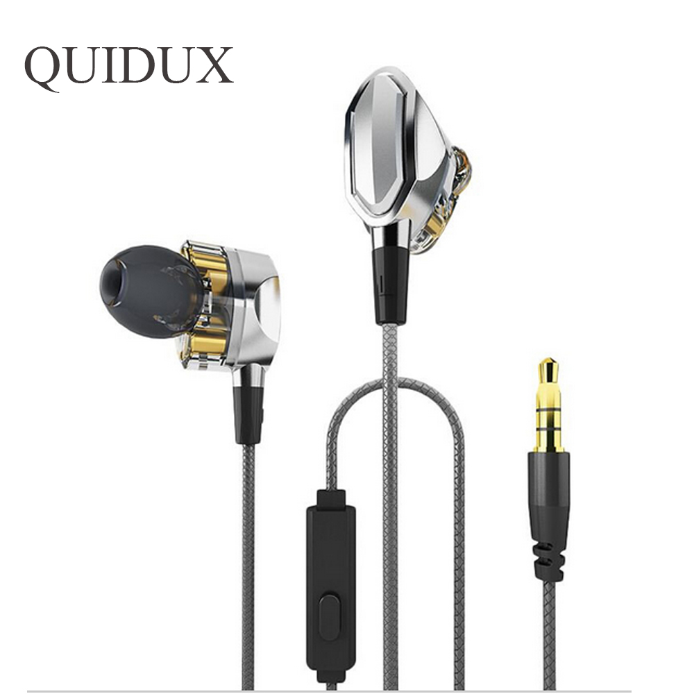 HiFi Earphones Dual Dynamic Driver 4D Stereo Surround Professional Noise Cancelling BASS HIFI Earbuds With Mic for iphone ipad<br>