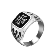 Mimeng Cross and Fire Titanium Rings for Men Stainless Steel Rings Fashion Jewelry Punk Style Ring Exaggerate Men Ring(China)