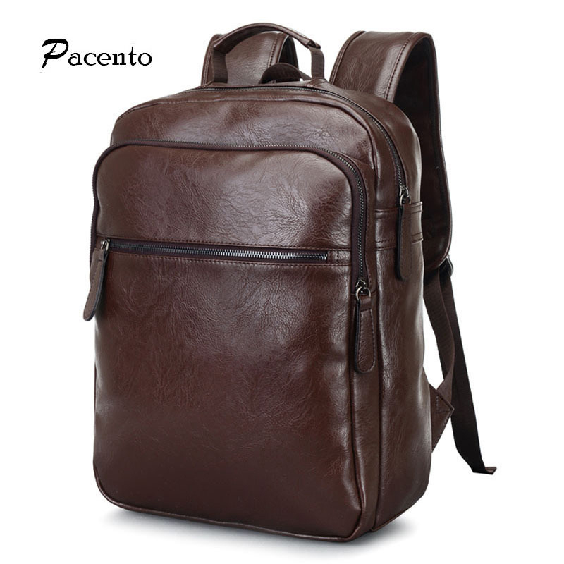 Fashion 2017 Famous Men s Laptop Backpacks Leather School Bags for TeenageLarge Capacity Vintage Travel Bag sac a dos<br><br>Aliexpress
