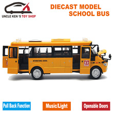 Diecast Bus Model, 22Cm Length Metal Toy, Alloy Car For Boys With Gift Box/Openable Doors/Music/Light/Pull Back Function