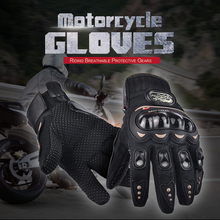 Free Shipping PRO Full Finger Protective Gear Black Carbon Fiber Pro-Biker Bike Motorcycle Motorbike Racing Gloves Luvas M/L/XL
