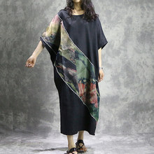 ASYMSAY Fashion Asymmetry Patchwork Oversized Big Size Ice Silk Linen Women Dress Ethnic Print Irregular Plus Size Dress AC3731
