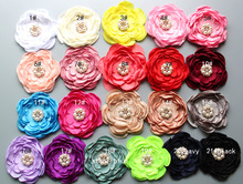 "105pcs/lot latest Burned edage Flower 4"" Multi Petal with pearl center Hair Flower for DIY Hair Accessories Free Shipping(China)"