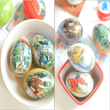 Mini Easter Egg Shaped Painted Eggshell Trinket Tin Candy Box Iron Boxes Decoration Children Birthday Wedding Christmas Gifts
