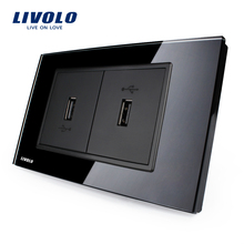 Livolo US Standard USB Socket(2.1A,5V), Black Glass, Wall Powerpoints With Plug, 2Gang USB Socket, VL-C392USB-82(China)