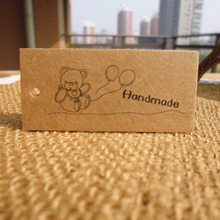 50pcs Cute Bear Handmade DIY Kraft Paper Gift Tag Party Wedding Message Gift Tag Hang Tag,Craft Cards Label Hemp String Included