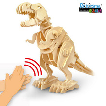 Free shipping Electric Rex Dinosaur robot voice can roar run wooden 3D puzzle animal assembling model child gift fpr 6+ educate(China)