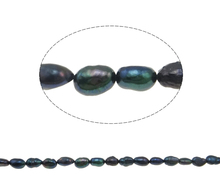 Free Shipping !!!Fine Baroque Cultured Freshwater Black Pearl Beads For Woman,Grade A, 6-7mm 14.5 Inch Strand