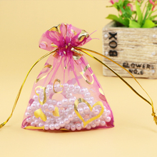 13x18cm Rose Red Heart Organza Jewelry Bags Beads Bags Jewelry Package With Logo Organza Sachet Custom Logo Printed 200pcs/lot(China)