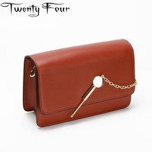 Twenty-four Luxury Women Leather Handbag Designer Women Clutch Bags Hard Solid Leather Messenger Bag Golden Chain Lock Lady Bags(China)