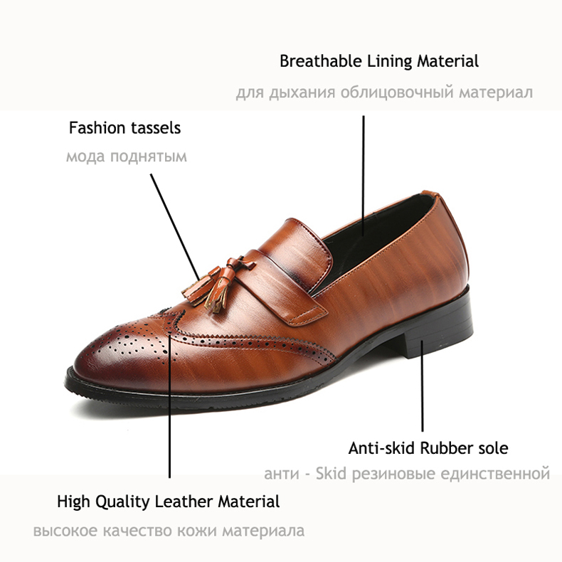 Mens Casual Shoes' Moccasins Men Shoes Formal Brown Slip-on Men Loafer Shoes High Quality Cow Leather Wedding Dress Shoe Size 48 4