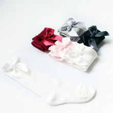 5Pairs/Lot Baby Girls Socks Knee High with Bows Princess Socks Girl Baby Socks Long Tube Kids Child Booties Vertical Striped Sox(China)