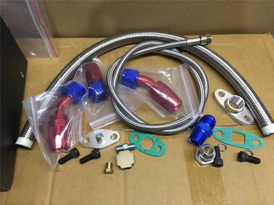 Turbo Oil Feed L/ínea de retorno Adaptador de brida AN10 para T3 T4 GT35 T70 T66 Turbo Oil Feed Line