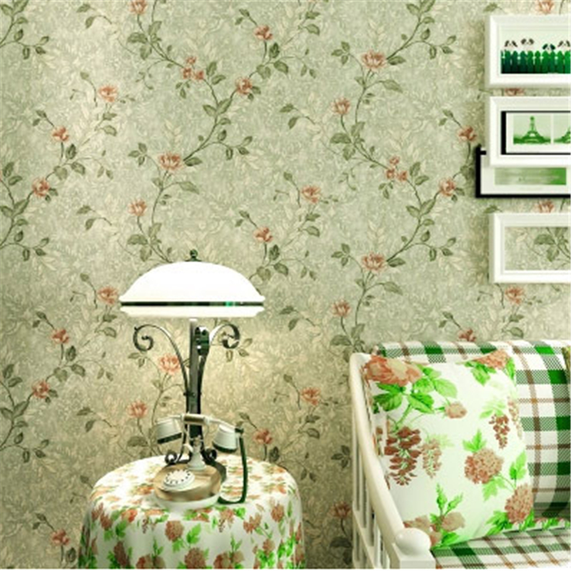 beibehang Vintage Country Pastoral Floral Wallpaper roll Classic Flowers Mural Wall Ppaer Roll Rural Green Yellow Wall Papier<br>