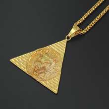 Hip Hop Style Lion Head Lion King Pendant Egyptian Pyramid Necklace Animal Charm Men Jewelry N759(China)