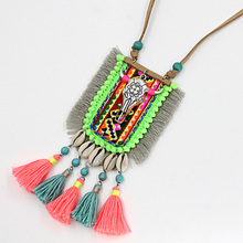 Woman's Handmade Necklaces & Pendants Bohemia Jewelry Shell Tassel Long Necklace Sweater Chain Alloy Cow Head Pendant