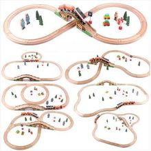 Seven in one  wooden train track  thomas Toy Train Set Tracks  Size:100x110cm