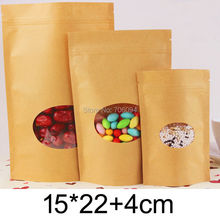 15*22+4cm,100PCS StandUp Kraft paper Bag with ziplock,Oval window Brown Kraft bag for Candy/Coffee/Tea/gift