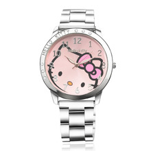 Women Watches Full Steel Hello Kitty Pink Diamond Fashion Watch WristWatch Ladies Watch Clock montre femme saat relogio feminino(China)