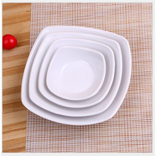 1pcs White plate melamine square Ivory dish fried noodles plate flat white restaurant square cutlery(China)