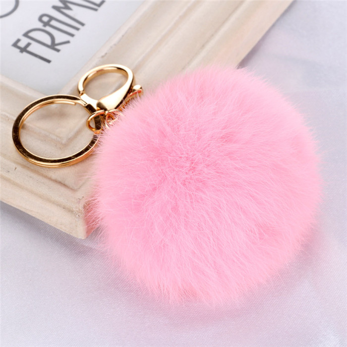 8CM Fluffy Pompom Real Rabbit Fur Ball Key Chain Women Trinket Pompon Hare Fur Toy keyring Bag Charms Ring Keychain Wedding Gift (12)