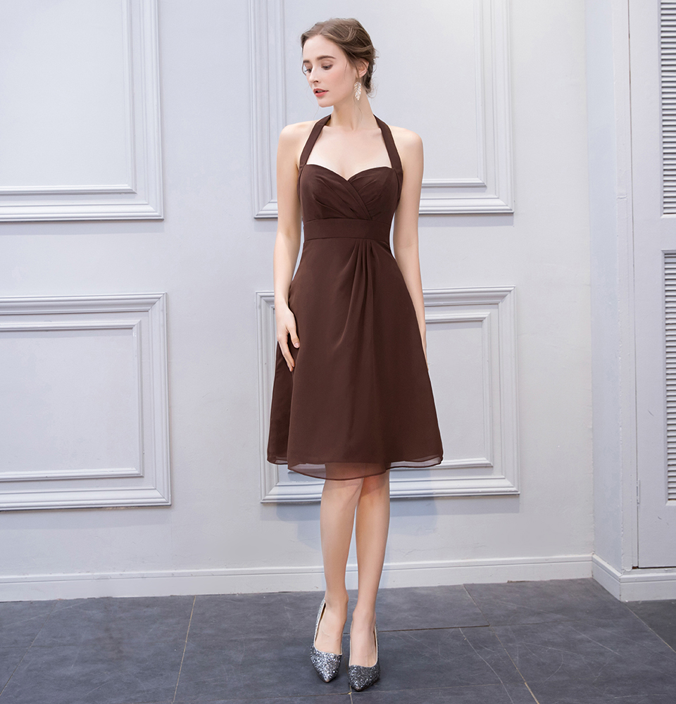 BeryLove Simple Brown Knee Length Short Bridesmaid Dresses Halter Backless Bridesmaid Gowns Chiffon Plus Wedding Party Dresses 2