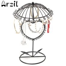Iron Black Necklace Jewelry Storage Rack Holder Metal Display Stand Shelf Desktop Ring Jewellery Sundries Organizer Rangement(China)