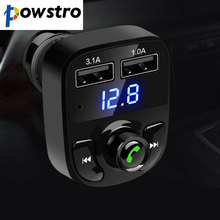 POWSTRO K Car Kit Bluetooth MP3 Player Hands-free Call Wireless FM Transmitter Modulator with 5V 4.1A Dual USB TF Slot Voltage(China)
