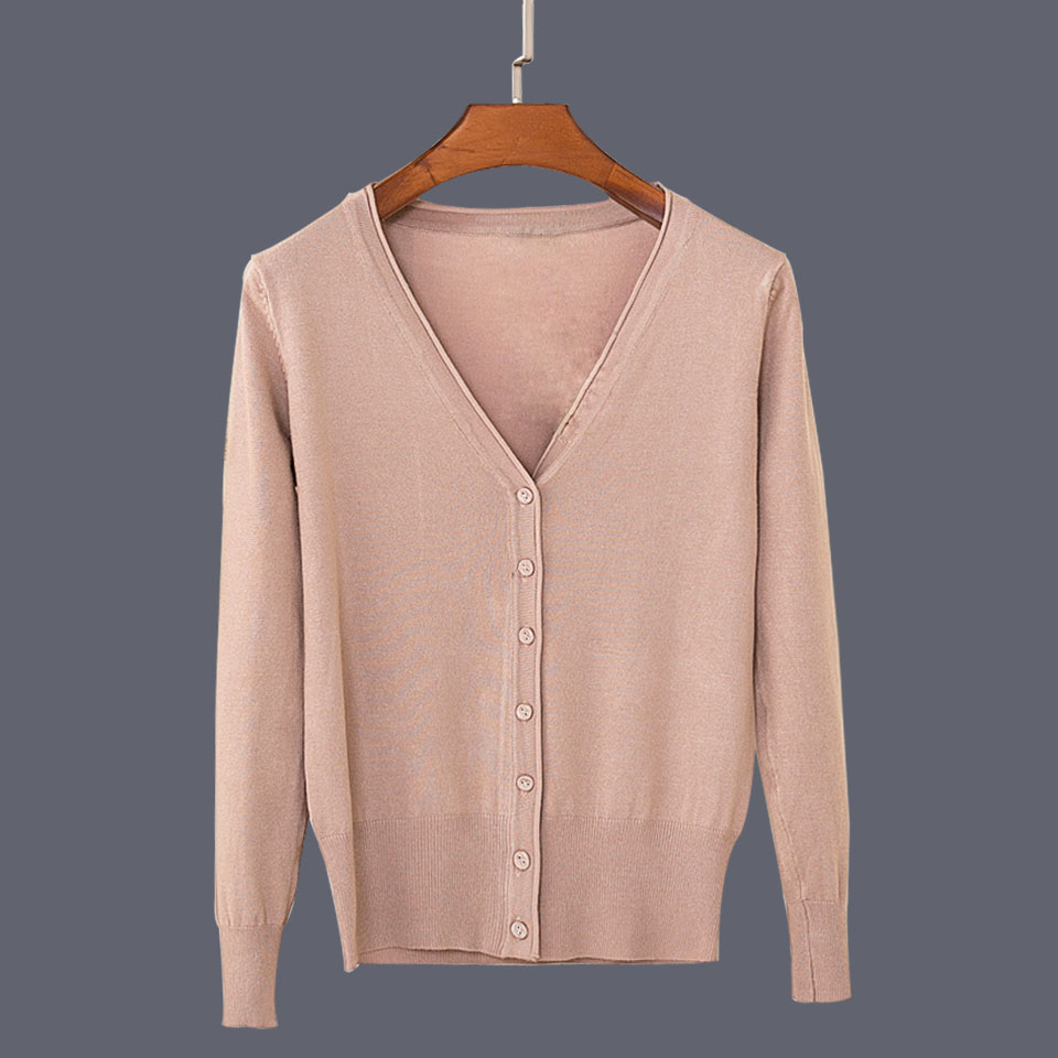 17 New Top Selling Spring Woman Sweater Tops Fashion Knitted Long Sleeve V-Neck Solid Loose Size Casual Woman Cardigan Sweater 33