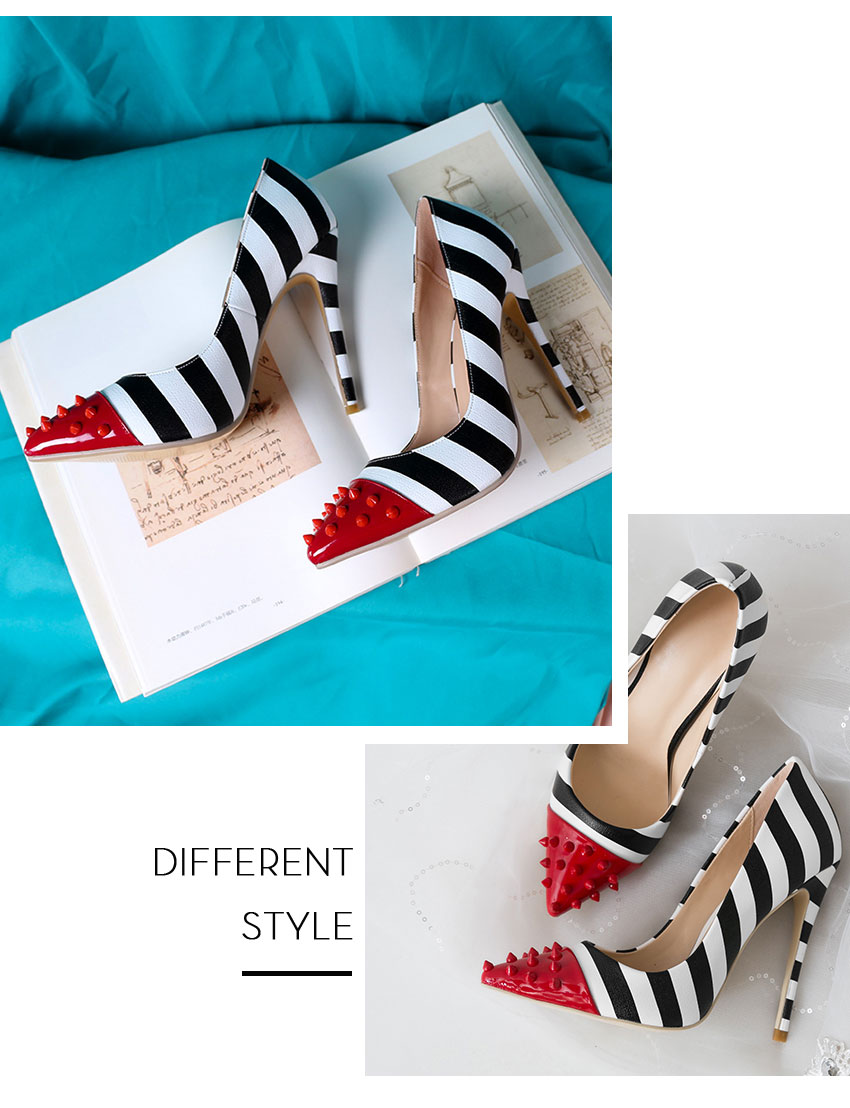 WETKISS Studded High Heels 12cm Stilettos Women Pointed Toe Rivet Ladies Party Pumps Zebra Shallow Colorful Shoes Woman 34-45 7