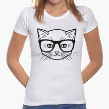 2017 Latest Women Fashion Glasses Cat T shirt  Cool Cat Tops Fashion Novelty Lady Casual Short Sleeve Tees