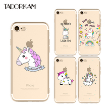 Lovely Unicorn Phone cases For iphone 6 6s 7 8 plus Clear Soft TPU Silicon Transparent Beautiful Rainbow Phone Back Cover(China)