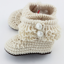Retail Newborn Toddler Crochet Shoes Infant Snow Booties Baby Cute Handmade Boots XZ010