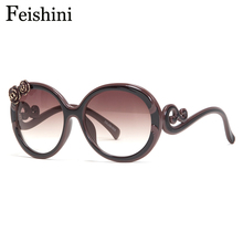 FEISHINI High Quality Shop Counters Classic 3D Flower Sunglasses Women Brand Designer Luxury UV400 Gradient Sunglass Round Retro(China)