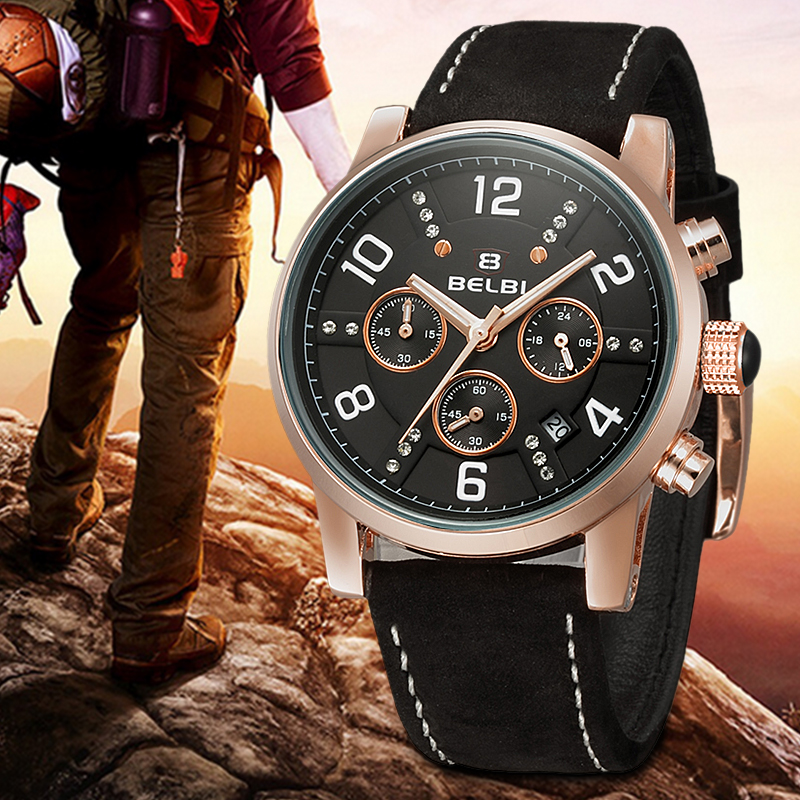 Casual Chronograph Sports Mens Watches Brand Luxury Quartz Watch Reloj Hombre  Leather Strap Wristwatches<br>