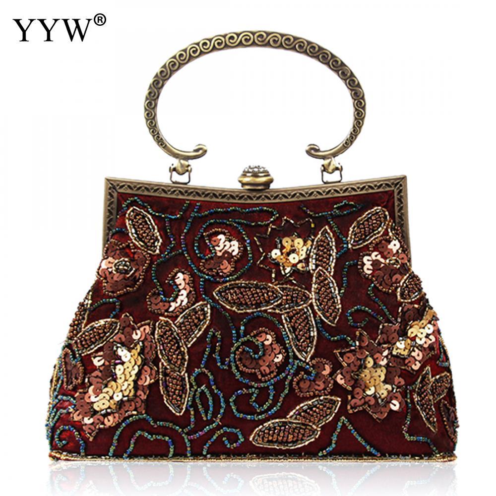 YYW Hot Velour Vintage Beaded Sequins Handmade Beaded Small Bag Ladies Portable Shoulder Bag Evening Cheongsam Bag Bolsas Clutch<br>