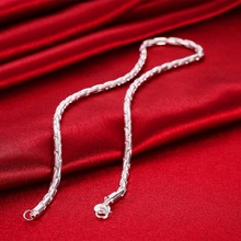 "Buy FSN059 Men's 925 Sterling Silver Chain Necklace 4mm 20"" Wholesale 925 Silver Jewelry for $4.07 in AliExpress store"