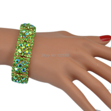 Spring Color Green AB Crystal Rhinestone Office Lady Stretch Bracelet(China)