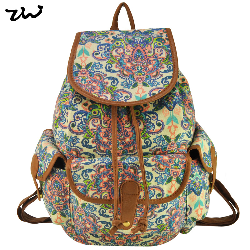 ZIWI Brand New Arrival Promotion Beauty Flower Canvas Backpack Fashion School Travel Ethnic Rucksack Classic Knapsack SY0407<br><br>Aliexpress