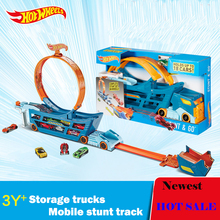 Hot Wheels Stunt N'' Go Mobile TS Move Track DWN56 Car Toys Educational Truck Toys Best Boy Juguetes Gift Hold 18 Sports Car(China)