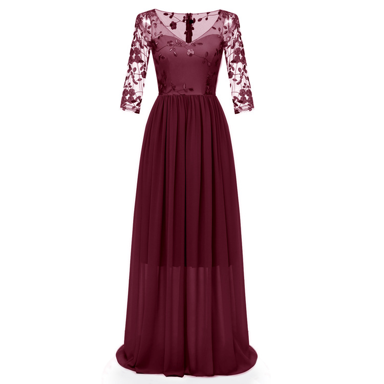 Sweet Memory Lace Cut-out Sleeve Burgundy Beige Gray Chiffon Bridesmaid Dresses SW18092886 US Size 2 to US Size 16
