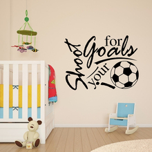 45*60cm Shoot For Your Goal Football English Letter Pattern Home Decorative Mural Wallpaper Removable Wall Sticker