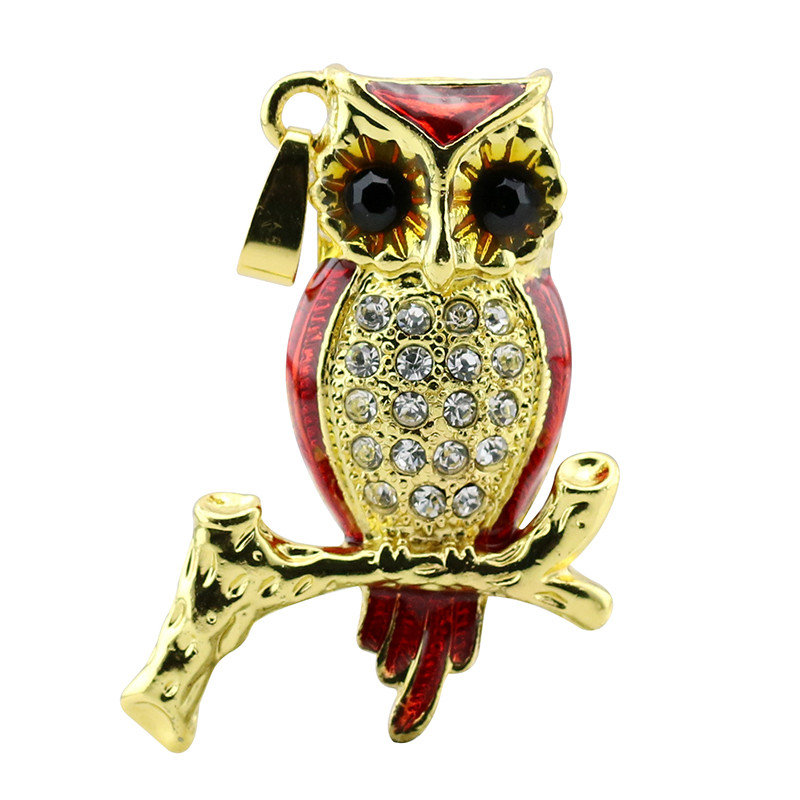 Animal USB Flash Drive Metal Diamond Owl Pendrive Nighthawk Pen Drive 4GB 8GB 16GB 32GB 64GB USB Memory Stick Gift With Necklace 36