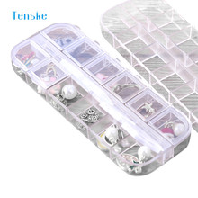 TENSKE 12 Grids Transparent Mini Eco-Friendly Plastic Jewelry Box Mini Cabinet Cases Storage Case Jewelry Box 1PC(China)