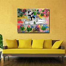 1 pcs Graffiti painting Fly Money By Alec Monopoly Wall Decorate Pictures Arts Print On Canvas Unframed for living room