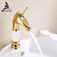 Basin Faucets Luxury Gold Horse Head Designer Crystal White Black Vintage Washbasin Taps For Bathroom WC Toilet Crane 818K(China)