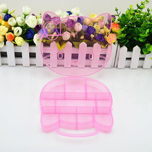 Hello Kitty Storage Box Case Holder Clear Pink color Plastic Adjustable Jewelry Necklace Pin Craft Organizer New trendy D2(China)