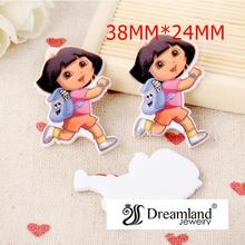 50pcs/lot 38MMx24MM New Cartoon Character Resin Flatbacks For Hair Bow Little Dora Planar Resin for DIY Phone Decoration DF-216