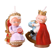 Wedding present gift for parents environmental protection wax art decorative semi manual smokeless cake candle king and queen